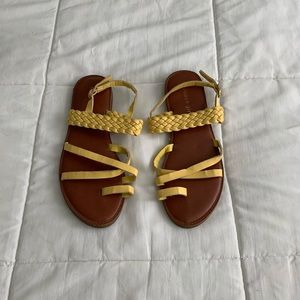 yellow strappy sandals
